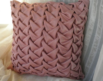 Smock Cushion Cover Decorative Pink Pillow, Velvet Pillowcase, Pink Pillow, Pink Cushion, Pink Velvet Cushion Cover, Dark Pink Pillowcase