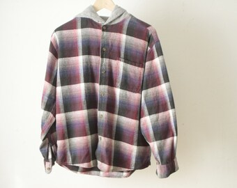90s FADED twin peaks HOODIE flannel plaid women's button up shirt