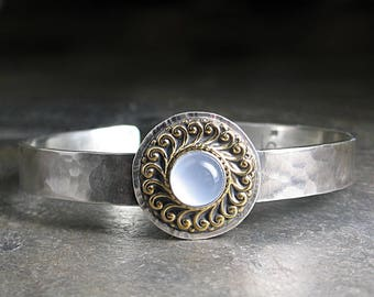 Sterling Silver Cuff with Blue Chalcedony everyday jewelry metalsmith - Blue Mist