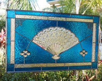 Stained Glass Window Panel, Vintage Fenton Daisy & Button Fan, Stained Glass Transom Window, Antique Glass Valance, OOAK Recycled Art