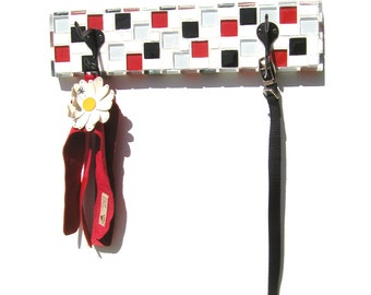 Mosaic Leash Holder, Towel Holder, Multi-Use Wall Decor, Coat Hooks, Key Holder, Leash Collar Wall Hooks
