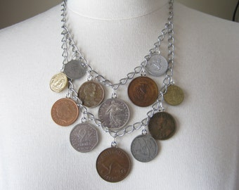 Statement Necklace, Vintage Coins, Upcycled, Repurposed, Shabby Chic, Jennifer Jones, Multistrand, silver, Charm Necklace, OOAK - World Tour