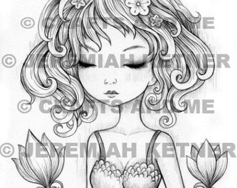 Digital Stamp - Instant Download - Only With You - Fantasy Line Art for Cards & Crafts by Artist Jeremiah Ketner Exclusive for Crafts and Me