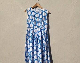 Blue and White Empire Waist Dress