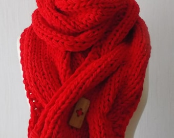 Handknit Chunky  Scarf Big Cowl Thick Cabled Soft   Red  Acrylic