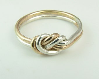 Knot Ring / Infinity Ring / Celtic Knot ring / Gold and Silver Knot Ring / Lover's Knot Ring / Sister Ring / Best Friend Ring