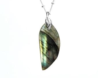 Labradorite Necklace in Sterling Silver - Sterling Labradorite Jewelry