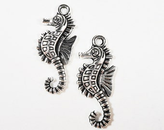 Silver Seahorse Charms 28x11mm Antique Silver Metal Seahorse Pendants Nautical Charms Ocean Charm Sea Creature Charms Craft Supplies 10pcs