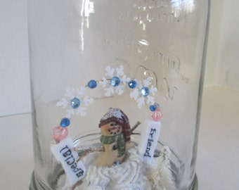 """snowglobe Jar  """"Special Friend Love"""" diorama in a mason jar with a fimo snowman,and bottle brush tree in the  crystal snow scene ooak"""