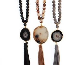 Beaded Druzy tassel necklace