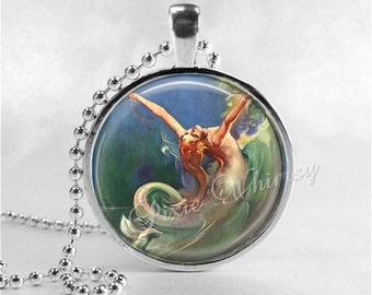 ART NOUVEAU MERMAID, Mermaid Necklace, Mermaid Pendant, Mermaid Jewelry,  Glass Photo Art Pendant Charm Jewelry