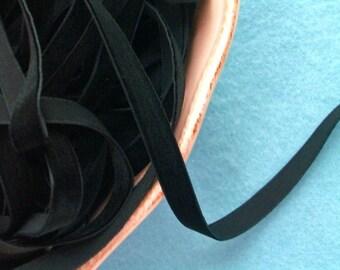 Black Raven Velvet Ribbon - 3/8 inch - 3 Yards