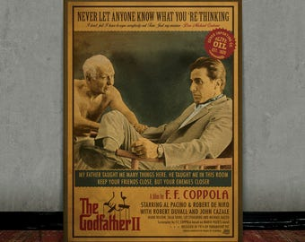 The godfather part 2, Michael Corleone, Al Pacino, Colored retro classic movie poster