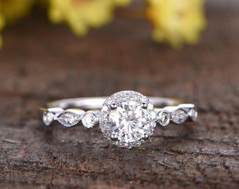 Charles & Colvard Moissanite engagement ring 14K white gold bridal ring marquise diamond wedding band 5mm Forever Classic moissanite ring