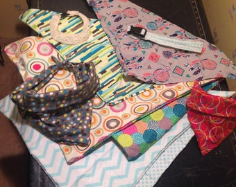 Costum dog accessories ( collars,bandanas, leashes,and clothes)
