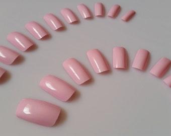 20 Pink Nails - Press on Nails - Glue on Nails - Pink Nails - Medium Long Pink Nails
