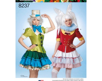 Simplicity Pattern 8237-Lolita  Mad Hatter and the White Rabbit from Alice in Wonderland Costume Size 6-14
