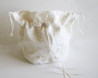 Brides Drawstring Bag, Dollar A Dance Bag, Brides Bag, Embroidered Bag