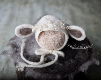 FREE Shipping! Felted newborn lamb bonnet