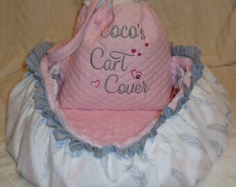 Dog Cart Cover - Shopping Cart Cover - Dogs - Pets - Faux Fur Seat - Includes Tote - Embroidered Personalization
