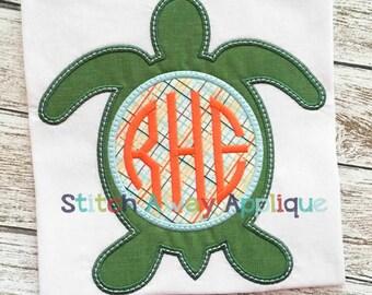 Sea Turtle Monogram Circle Machine Applique Design
