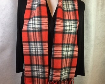 Red Plaid Fleece Scarf