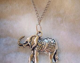 Paisley Elephant Charm Necklace