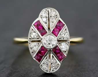 Art Deco Engagement Ring - Antique Art Deco Ruby & Diamond Panel Ring - 18ct Gold and Platinum Ruby Engagement Ring