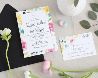 Modern Watercolor Wedding Invitation . Floral Watercolor Wedding Invite . Geometric Wedding Invitation . Modern Initials Wedding Invitation