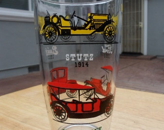 Large Clear Glass Tumbler With Vintage Automobiles Painted on Exterior - Large Beer Glass with Vintage Automobiles Etched on Exterior -DJ854
