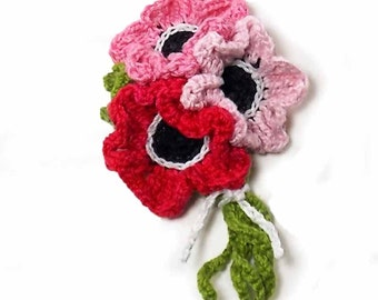 Crochet Brooch Fiber Brooch Anemone Bouquet Pale Pink Scarlet Red Green White Crochet Flower Pin Flower Brooch