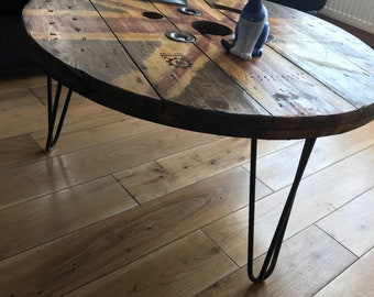 Industrial Cable Drum Reel Coffee Table Union Jack British Flag