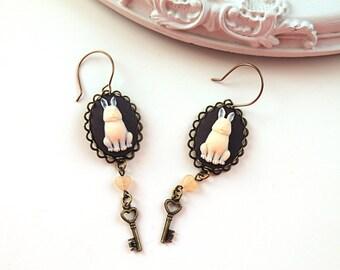 Bunny rabbit cameo  dangling earrings kawaii lolita key and heart Alice in Wonderland