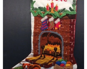 Carole Personalized Crewel Christmas Stocking Fireside Vtg Cat Hearth Yarn Fire