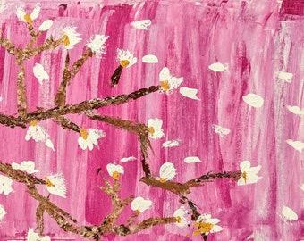 Pink Tree Acrylic Painting 24x12
