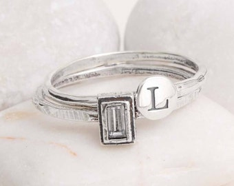 Initial & Birthstone Stacking Ring Set in Sterling Silver. Personalized Ring Set. Silver Stackable Rings, Mother's Ring, Initial Ring Set.