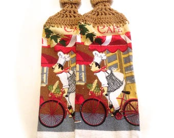 Bicycle Chef Hand Towels With Warm Brown Crocheted Tops- Pair