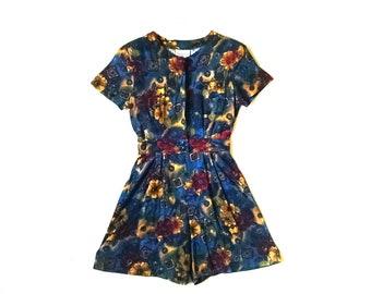 Vintage floral street style romper // vintage 1990s floral romper shorts // vintage floral grunge romper jumper