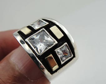 Handmade Square band, 925 sterling Silver and 9k yellow gold CZ ring, Silver CZ ring, size 8, Crystal Ring, 9K Yellow gold Ring  (s r2220)