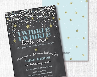 Twinkle Twinkle Little Star Birthday Party Invitation, Printable, Blue Chalkboard Invite, Blue, Gold, Confetti Stars, Boy
