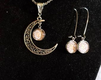 Sun jewelry set with Sun and Crescent Moon necklace and Sun earrings