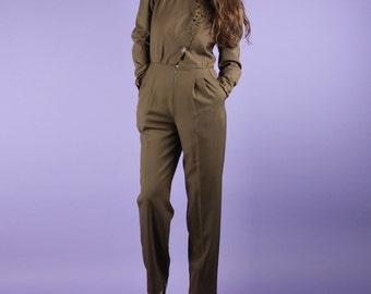 Olive Khaki 80s Japanese Onesie Pantsuit Jumpsuit Romper S