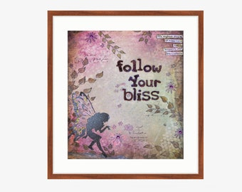 Instant download Backgrounds Scrapbooking paper Printable journal page Digital Collage sheets Mixed media art fairy bliss quotes pictures
