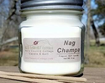 NAG CHAMPA SOY Candle - Incense Meditation Aroma - Earthy Candles - Meditation Candles