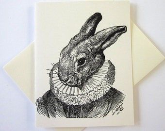 Rabbit Note Cards Set of 10 with Matching Envelopes