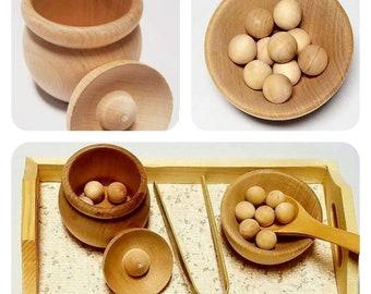 Montessori Transfer Work / Scooping / Spooning / Tonging / Counting / Fine-motor Skills / Wood Tray / Toddler / Montessori Life Skills