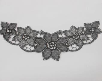Applique lace black 24 x 6.5 cm