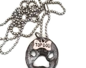 Paw Print Necklace / Top Dog Charm / Pet Lovers Gifts /Silver Pet Charm