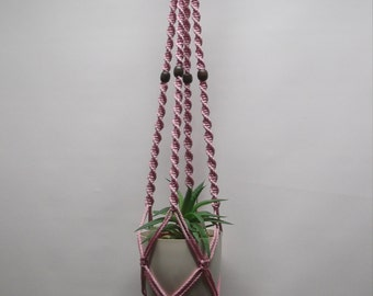 Pink hanging planter. Macrame plant hanger. Hanging flowerpot holder.