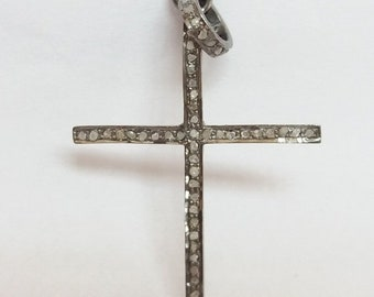 50% OFF 1 Pc Pave Diamond Cross Charm Pendant 925 Sterling Silver - Pave Diamond Oxidized Cross Size 45X30mm - Pave Diamond Cross Charm